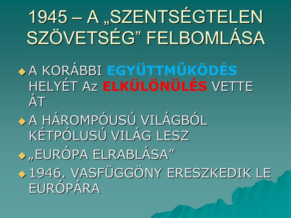 """1945 – A """"SZENTSÉGTELEN SZÖVETSÉG FELBOMLÁSA  A KORÁBBI HELYÉT Az VETTE ÁT  A KORÁBBI EGYÜTTMŰKÖDÉS HELYÉT Az ELKÜLÖNÜLÉS VETTE ÁT  A HÁROMPÓUSÚ VILÁGBÓL KÉTPÓLUSÚ VILÁG LESZ  """"EURÓPA ELRABLÁSA  1946."""