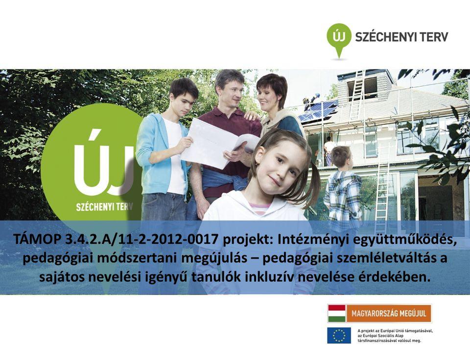 TÁMOP 3.4.2.A/11-2-2012-0017 projekt: Intézményi együttműködés, pedagógiai módszertani megújulás – pedagógiai szemléletváltás a sajátos nevelési igényű tanulók inkluzív nevelése érdekében.