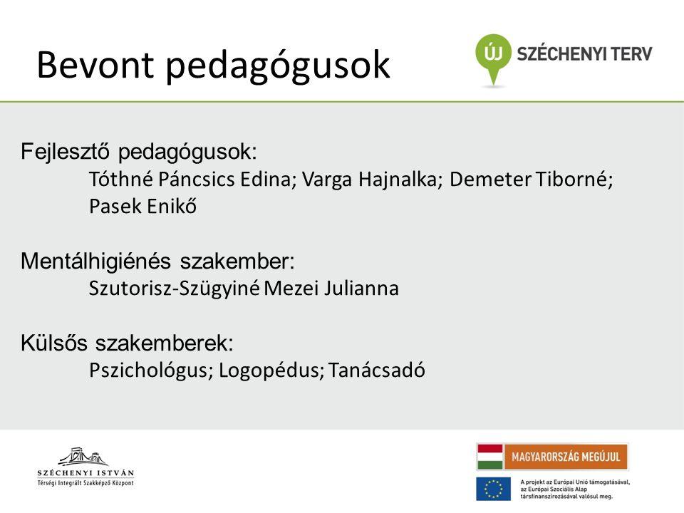 Bevont pedagógusok Fejlesztő pedagógusok: Tóthné Páncsics Edina; Varga Hajnalka; Demeter Tiborné; Pasek Enikő Mentálhigiénés szakember: Szutorisz-Szüg