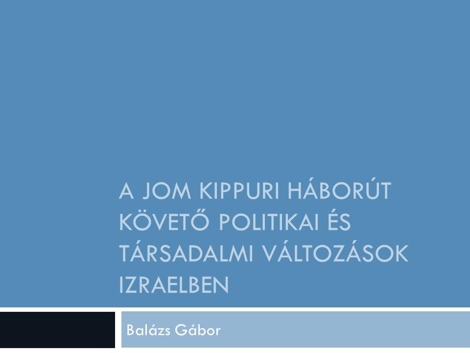 A JOM KIPPURI HÁBORÚT KÖVETŐ POLITIKAI ÉS TÁRSADALMI VÁLTOZÁSOK IZRAELBEN Balázs Gábor