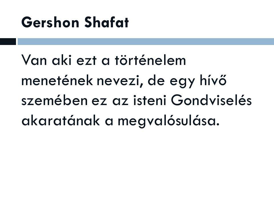Gershon Shafat Van aki ezt a történelem menetének nevezi, de egy hívő szemében ez az isteni Gondviselés akaratának a megvalósulása.