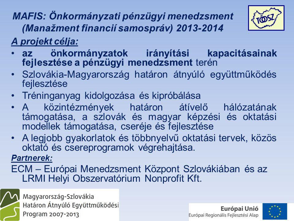 A projekt célja: •az önkormányzatok irányítási kapacitásainak fejlesztése a pénzügyi menedzsment terén •Szlovákia-Magyarország határon átnyúló együttműködés fejlesztése •Tréninganyag kidolgozása és kipróbálása •A közintézmények határon átívelő hálózatának támogatása, a szlovák és magyar képzési és oktatási modellek támogatása, cseréje és fejlesztése •A legjobb gyakorlatok és többnyelvű oktatási tervek, közös oktató és csereprogramok végrehajtása.