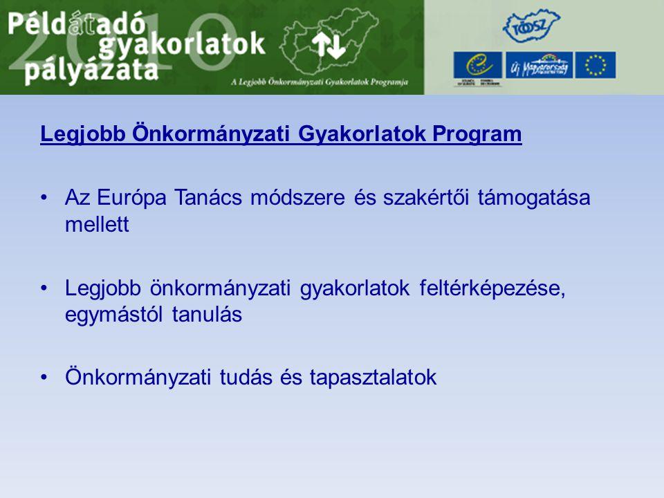 Legjobb Önkormányzati Gyakorlatok Program •Az Európa Tanács módszere és szakértői támogatása mellett •Legjobb önkormányzati gyakorlatok feltérképezése, egymástól tanulás •Önkormányzati tudás és tapasztalatok