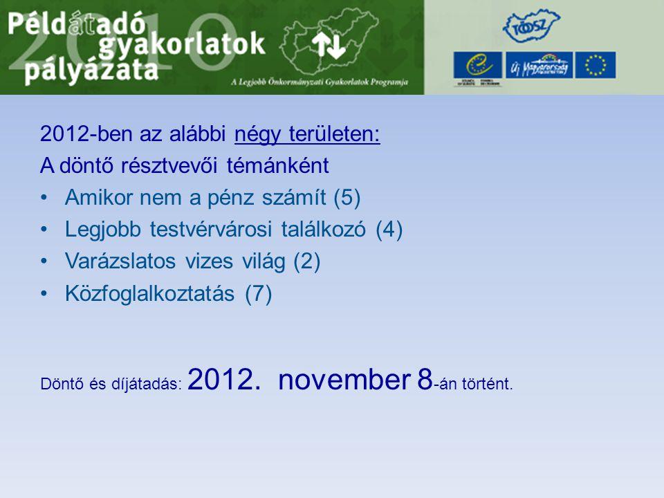 2012-ben az alábbi négy területen: A döntő résztvevői témánként •Amikor nem a pénz számít (5) •Legjobb testvérvárosi találkozó (4) •Varázslatos vizes világ (2) •Közfoglalkoztatás (7) Döntő és díjátadás: 2012.