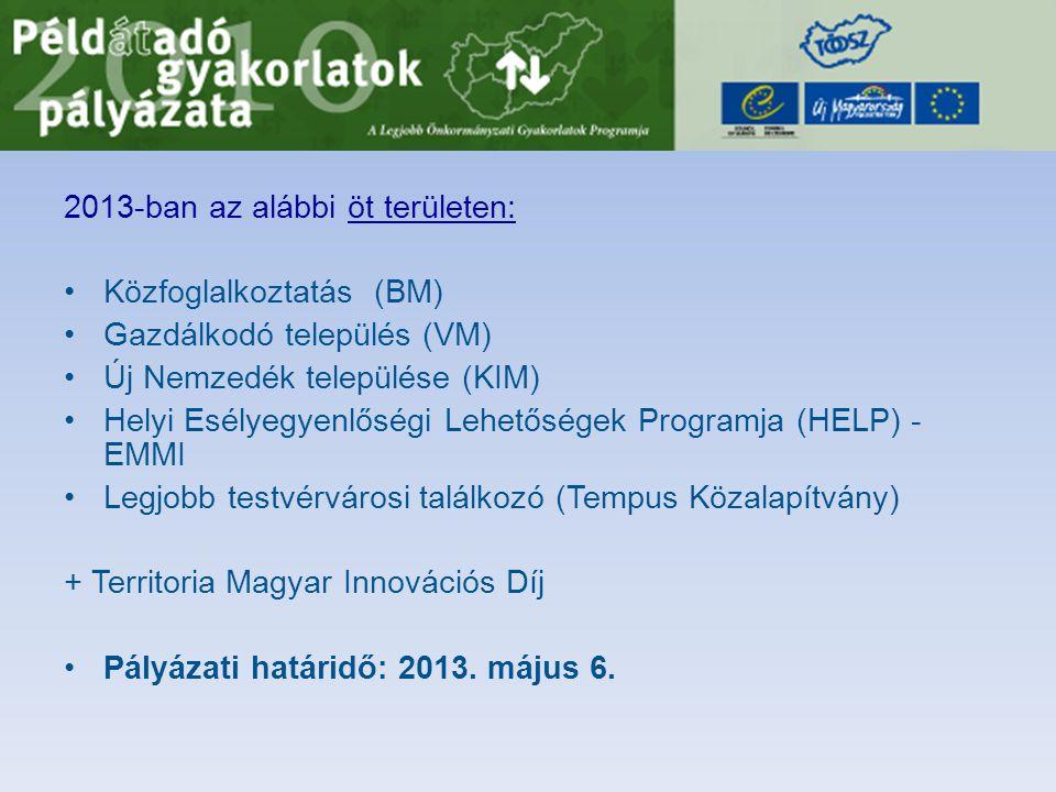 2013-ban az alábbi öt területen: •Közfoglalkoztatás (BM) •Gazdálkodó település (VM) •Új Nemzedék települése (KIM) •Helyi Esélyegyenlőségi Lehetőségek Programja (HELP) - EMMI •Legjobb testvérvárosi találkozó (Tempus Közalapítvány) + Territoria Magyar Innovációs Díj •Pályázati határidő: 2013.