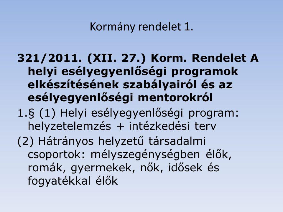 Kormány rendelet 1. 321/2011. (XII. 27.) Korm.