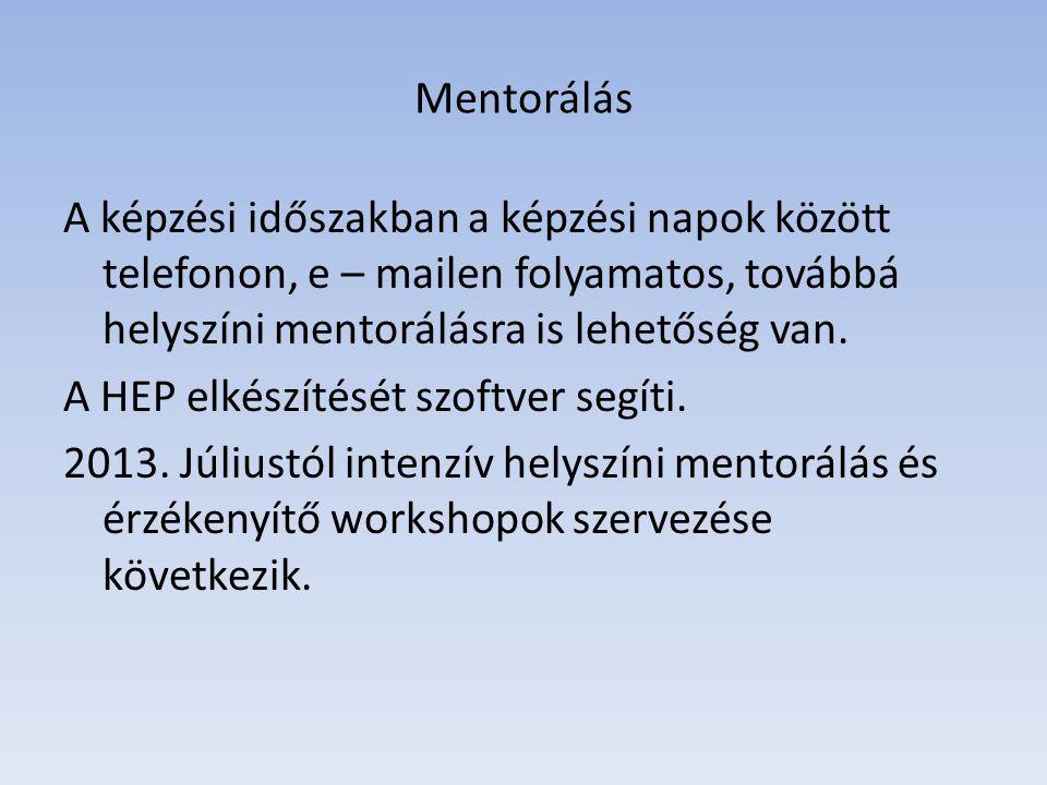 Mentorálás A képzési időszakban a képzési napok között telefonon, e – mailen folyamatos, továbbá helyszíni mentorálásra is lehetőség van.