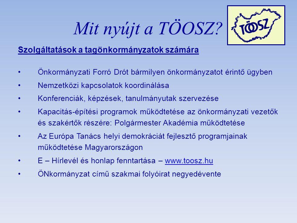 Szolgáltatások a tagönkormányzatok számára •Önkormányzati Forró Drót bármilyen önkormányzatot érintő ügyben •Nemzetközi kapcsolatok koordinálása •Konferenciák, képzések, tanulmányutak szervezése •Kapacitás-építési programok működtetése az önkormányzati vezetők és szakértők részére: Polgármester Akadémia működtetése •Az Európa Tanács helyi demokráciát fejlesztő programjainak működtetése Magyarországon •E – Hírlevél és honlap fenntartása – www.toosz.huwww.toosz.hu •ÖNkormányzat című szakmai folyóirat negyedévente Mit nyújt a TÖOSZ?