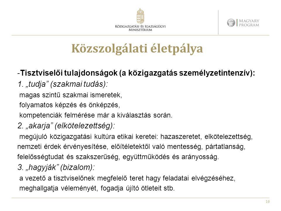 16 Közszolgálati életpálya -Tisztviselői tulajdonságok (a közigazgatás személyzetintenzív): 1.
