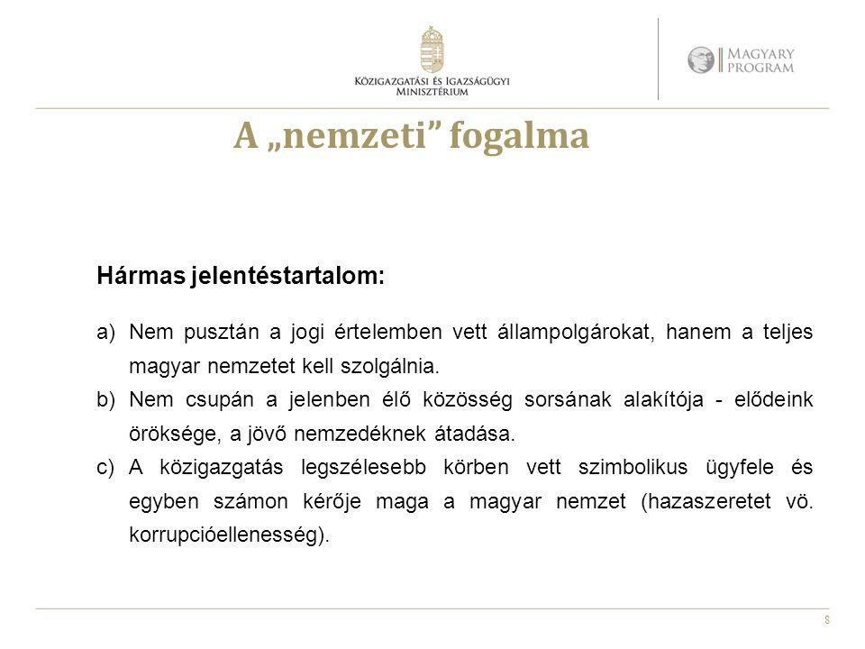 """8 A """"nemzeti fogalma Hármas jelentéstartalom: a)Nem pusztán a jogi értelemben vett állampolgárokat, hanem a teljes magyar nemzetet kell szolgálnia."""