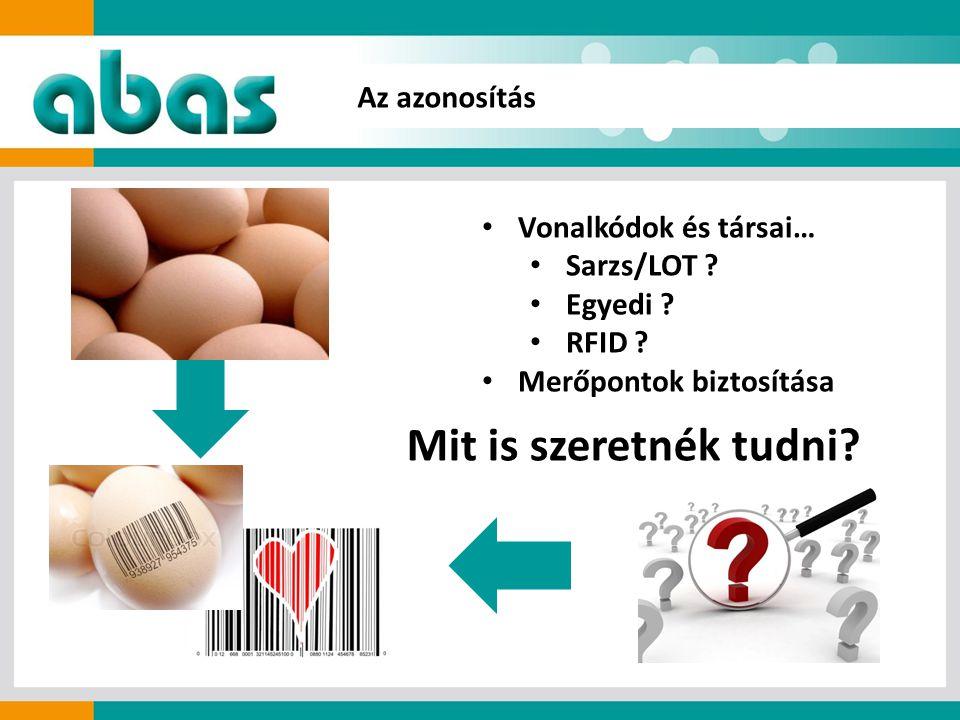 • Vonalkódok és társai… • Sarzs/LOT . • Egyedi . • RFID .