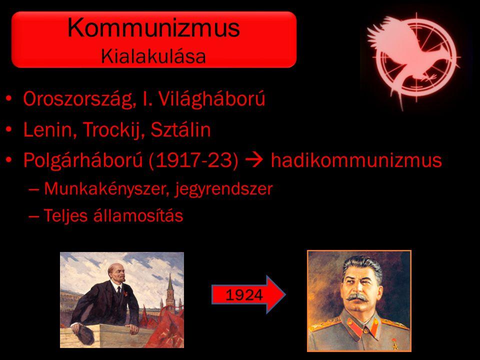 • Oroszország, I. Világháború • Lenin, Trockij, Sztálin • Polgárháború (1917-23)  hadikommunizmus – Munkakényszer, jegyrendszer – Teljes államosítás