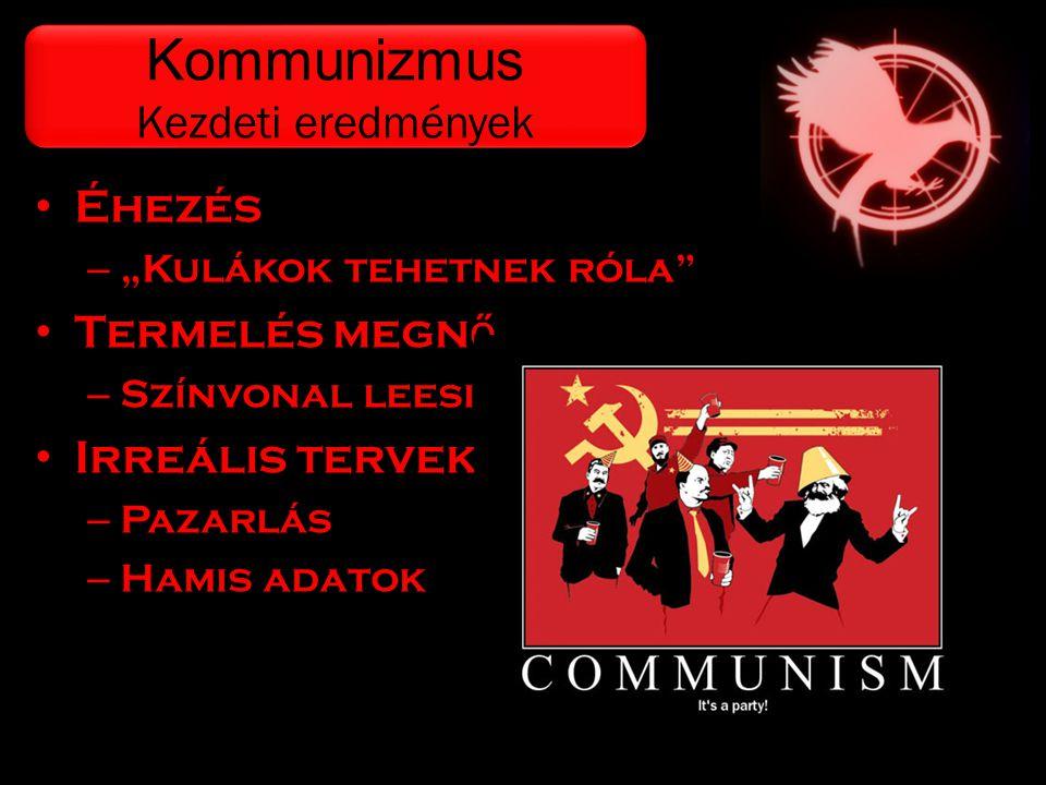 """• Éhezés – """"Kulákok tehetnek róla"""" • Termelés megn ő – Színvonal leesik • Irreális tervek – Pazarlás – Hamis adatok Kommunizmus Kezdeti eredmények Kom"""