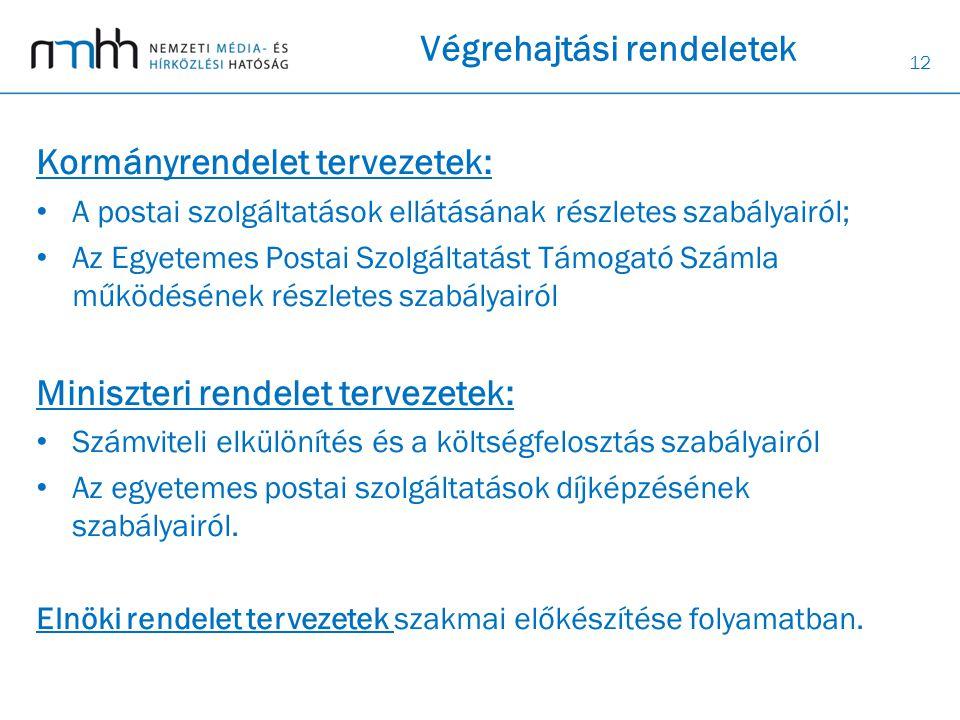 12 Végrehajtási rendeletek Kormányrendelet tervezetek: • A postai szolgáltatások ellátásának részletes szabályairól; • Az Egyetemes Postai Szolgáltatá