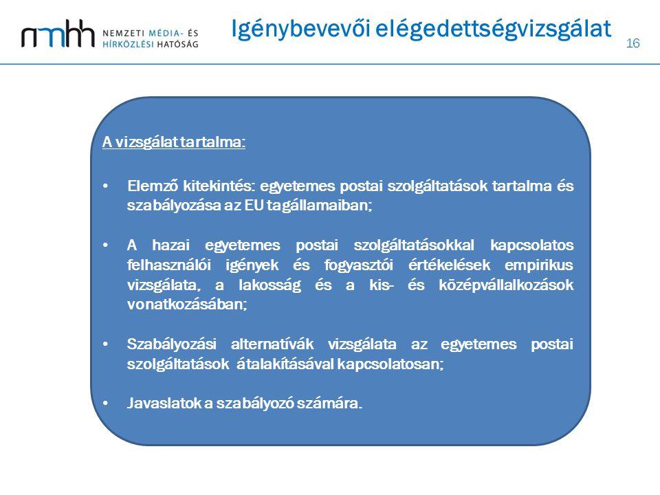 16 Igénybevevői elégedettségvizsgálat A vizsgálat tartalma: • Elemző kitekintés: egyetemes postai szolgáltatások tartalma és szabályozása az EU tagállamaiban; • A hazai egyetemes postai szolgáltatásokkal kapcsolatos felhasználói igények és fogyasztói értékelések empirikus vizsgálata, a lakosság és a kis- és középvállalkozások vonatkozásában; • Szabályozási alternatívák vizsgálata az egyetemes postai szolgáltatások átalakításával kapcsolatosan; • Javaslatok a szabályozó számára.