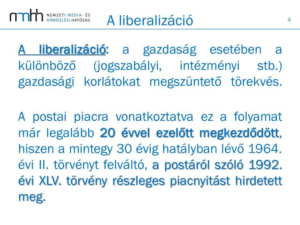 4 A liberalizáció A liberalizáció A liberalizáció: a gazdaság esetében a különböző (jogszabályi, intézményi stb.) gazdasági korlátokat megszüntető törekvés.