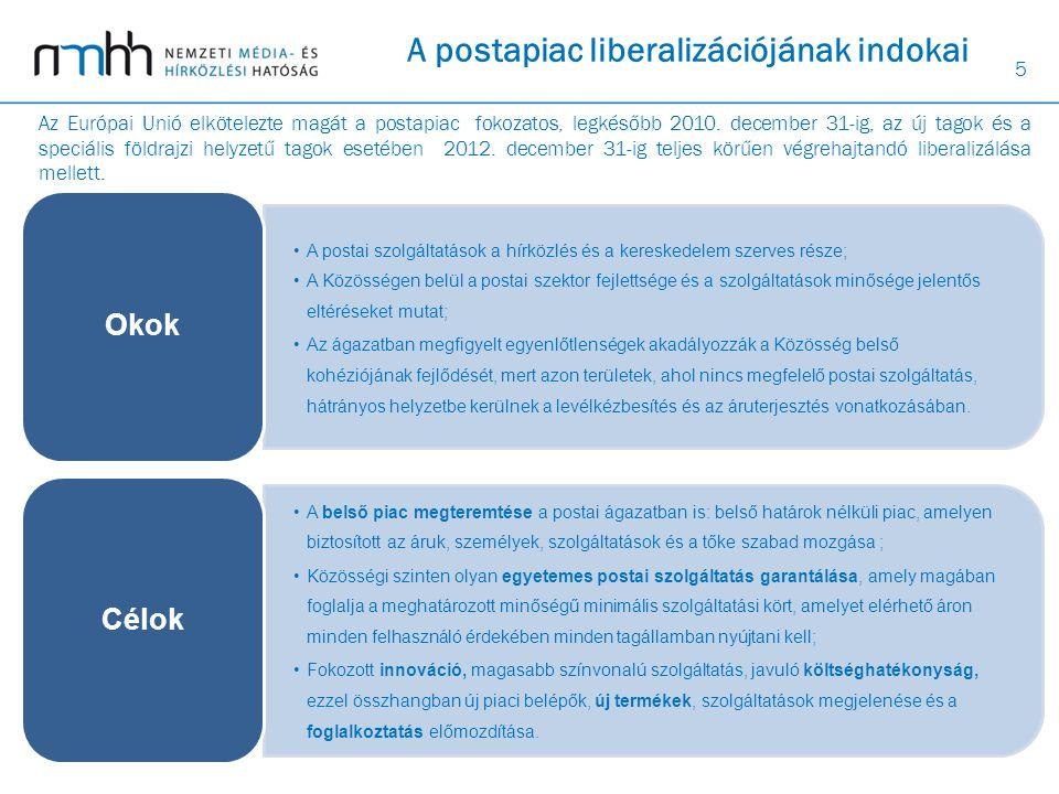 5 A postapiac liberalizációjának indokai A postai szolgáltatások a hírközlés és a kereskedelem szerves része; •A Közösségen belül a postai szektor fej