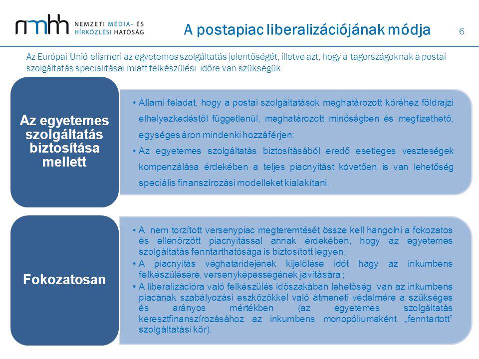 6 A postapiac liberalizációjának módja Állami feladat, hogy a postai szolgáltatások meghatározott köréhez földrajzi elhelyezkedéstől függetlenül, megh