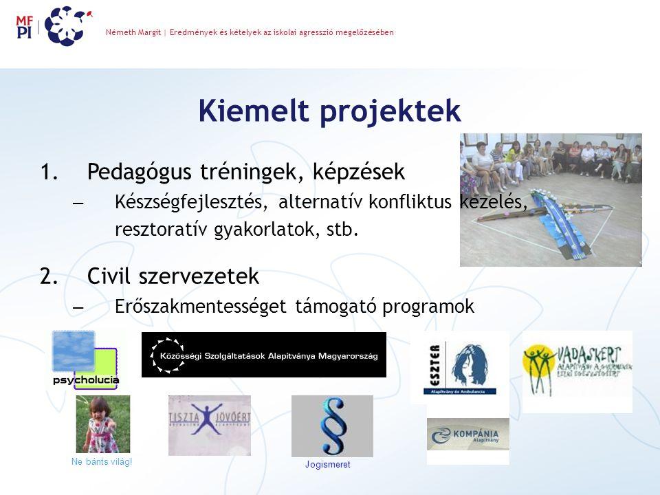 Kiemelt projektek Németh Margit | Eredmények és kételyek az iskolai agresszió megelőzésében 1.Pedagógus tréningek, képzések – Készségfejlesztés, alternatív konfliktus kezelés, resztoratív gyakorlatok, stb.