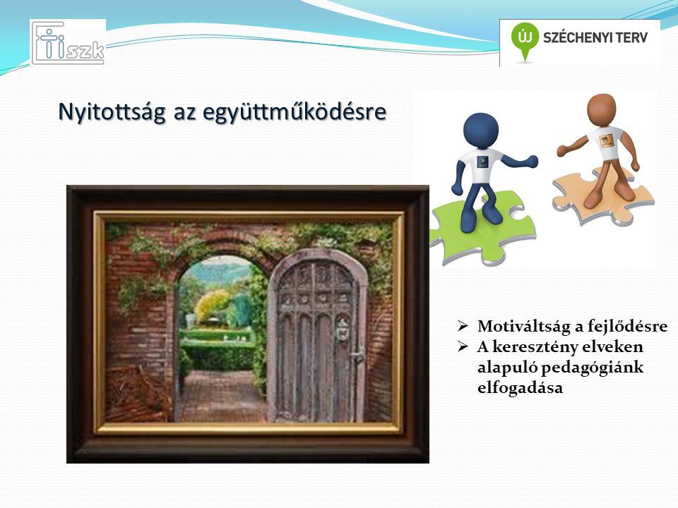  Motiváltság a fejlődésre  A keresztény elveken alapuló pedagógiánk elfogadása Nyitottság az együttműködésre