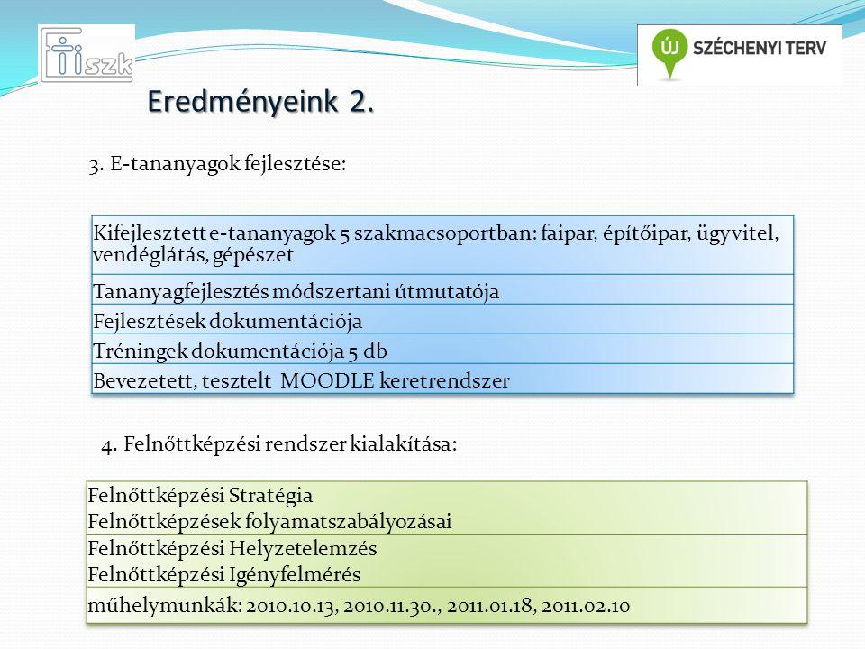 Eredményeink 2. 3. E-tananyagok fejlesztése: 4. Felnőttképzési rendszer kialakítása: