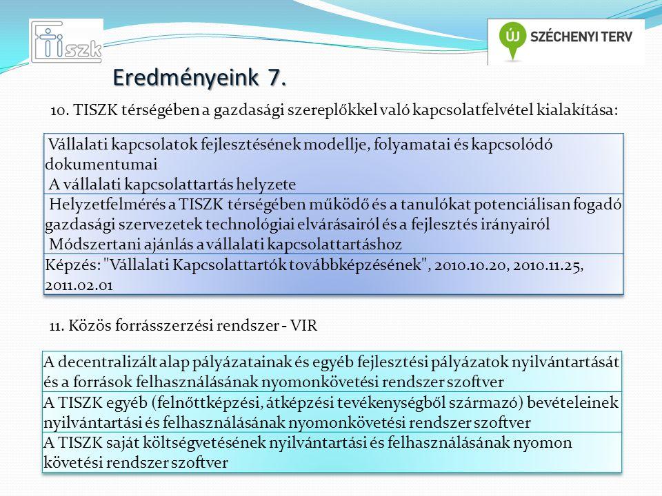 Eredményeink 8. 12. Közös nyilvántartási rendszer létrehozása - VIRVIR