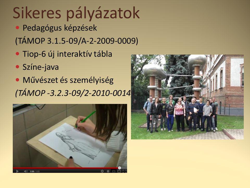 Sikeres pályázatok  Pedagógus képzések (TÁMOP 3.1.5-09/A-2-2009-0009)  Tiop-6 új interaktív tábla  Színe-java  Művészet és személyiség (TÁMOP -3.2.3-09/2-2010-0014)
