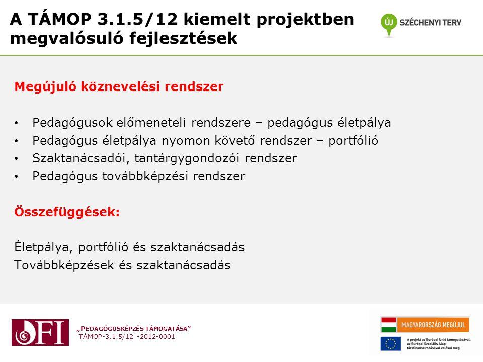 """""""P EDAGÓGUSKÉPZÉS TÁMOGATÁSA """" TÁMOP-3.1.5/12 -2012-0001 A TÁMOP 3.1.5/12 kiemelt projektben megvalósuló fejlesztések Megújuló köznevelési rendszer •"""