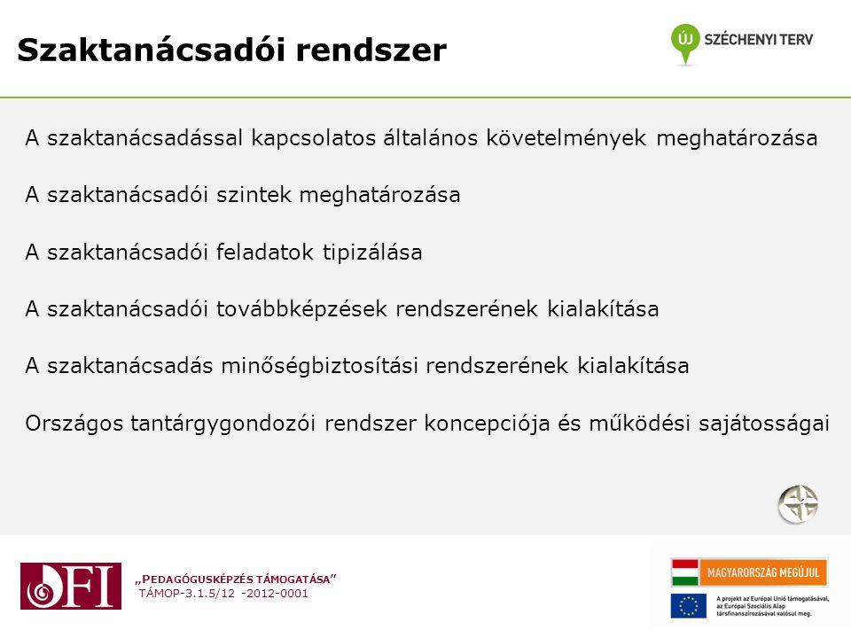 """""""P EDAGÓGUSKÉPZÉS TÁMOGATÁSA """" TÁMOP-3.1.5/12 -2012-0001 Szaktanácsadói rendszer A szaktanácsadással kapcsolatos általános követelmények meghatározása"""