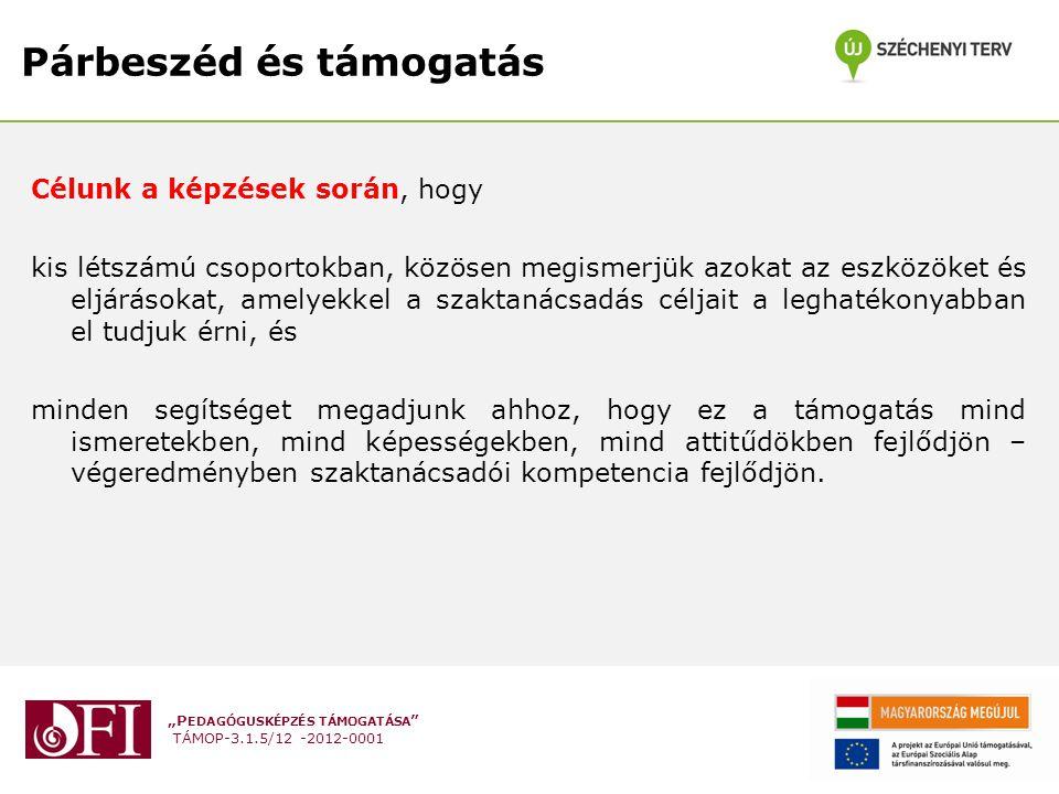 """""""P EDAGÓGUSKÉPZÉS TÁMOGATÁSA """" TÁMOP-3.1.5/12 -2012-0001 Párbeszéd és támogatás Célunk a képzések során, hogy kis létszámú csoportokban, közösen megis"""