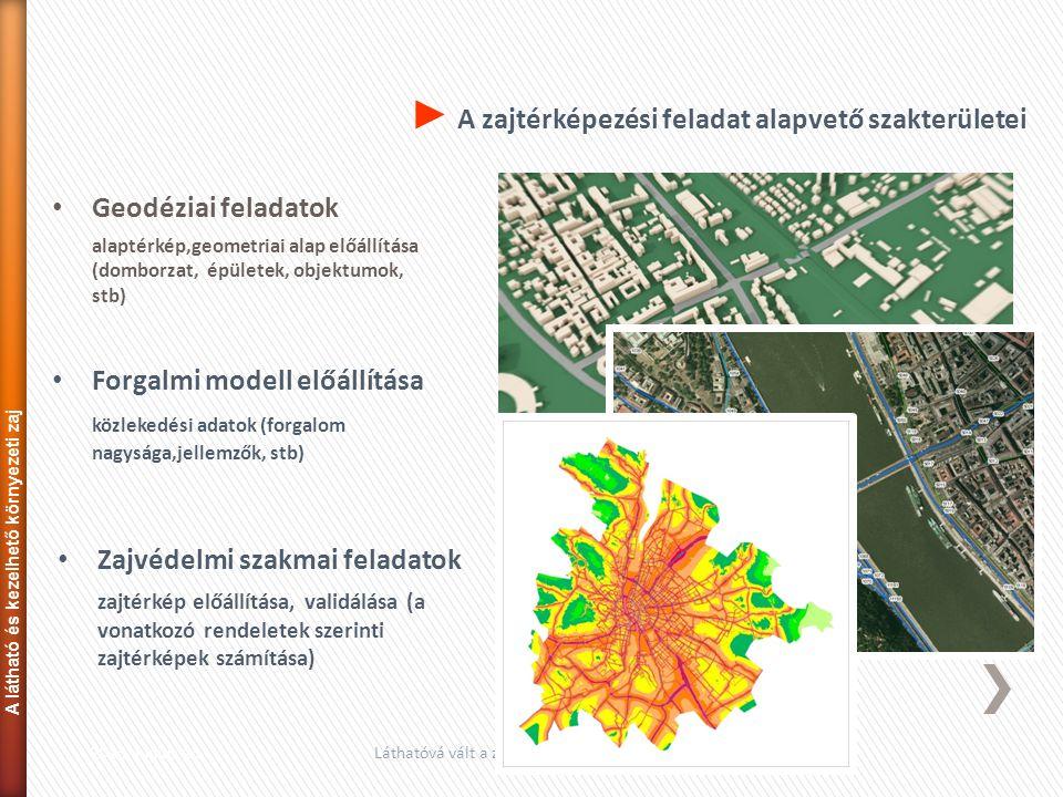 • Geodéziai feladatok alaptérkép,geometriai alap előállítása (domborzat, épületek, objektumok, stb) 2013. június 13.Láthatóvá vált a zaj...17 • Zajvéd