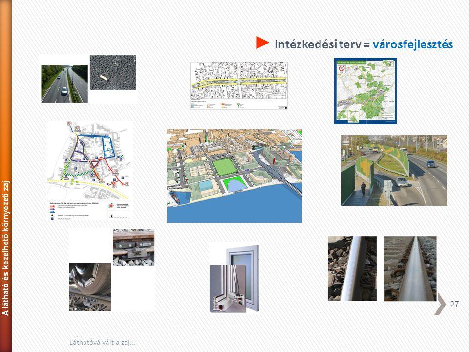 27 Láthatóvá vált a zaj... ► Intézkedési terv = városfejlesztés A látható és kezelhető környezeti zaj
