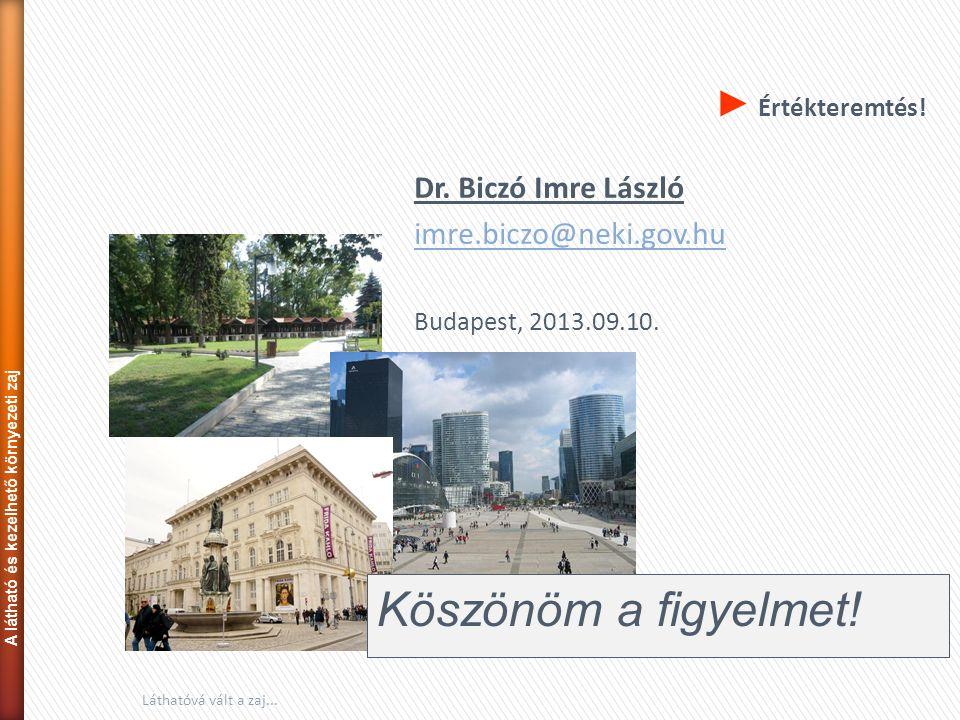 32 Láthatóvá vált a zaj... ► Értékteremtés! Köszönöm a figyelmet! Dr. Biczó Imre László imre.biczo@neki.gov.hu Budapest, 2013.09.10.