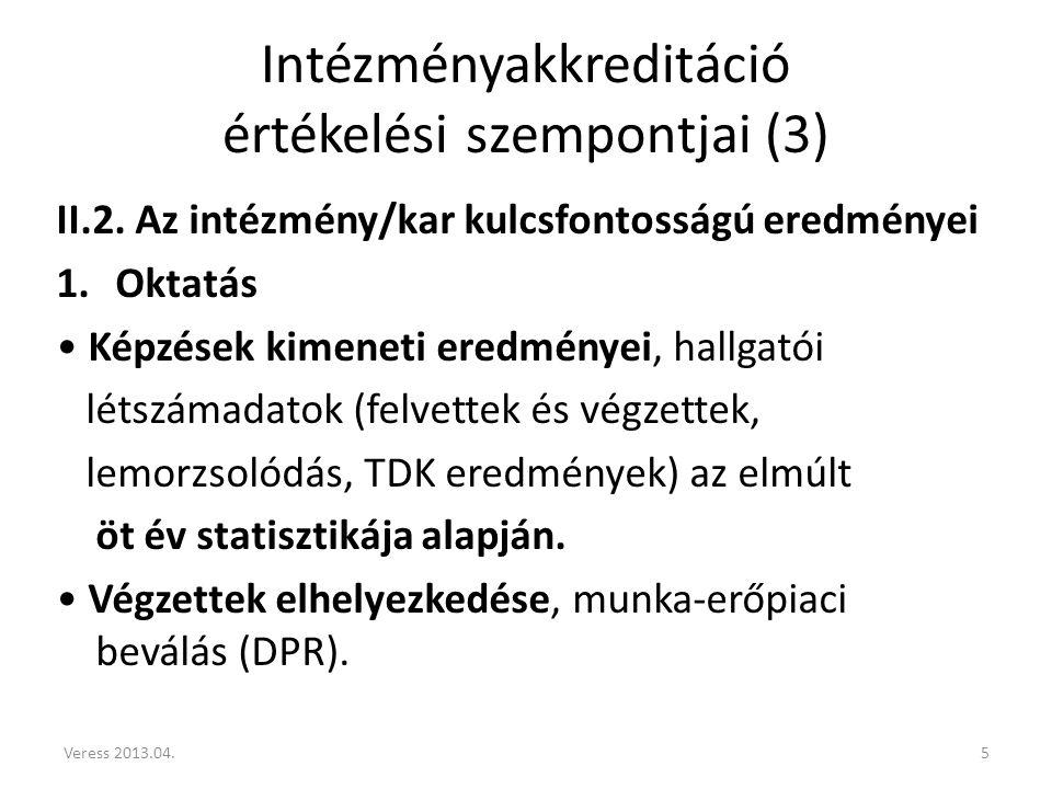 Intézményakkreditáció értékelési szempontjai (3) II.2.
