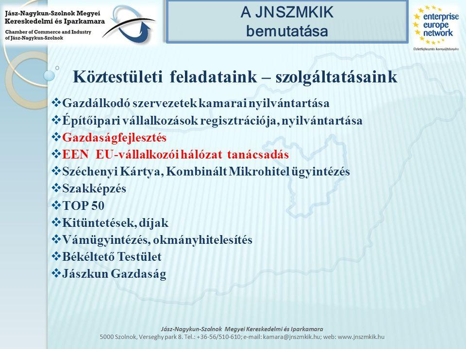 A JNSZMKIK bemutatása Köztestületi feladataink – szolgáltatásaink  Gazdálkodó szervezetek kamarai nyilvántartása  Építőipari vállalkozások regisztrációja, nyilvántartása  Gazdaságfejlesztés  EEN EU-vállalkozói hálózat tanácsadás  Széchenyi Kártya, Kombinált Mikrohitel ügyintézés  Szakképzés  TOP 50  Kitüntetések, díjak  Vámügyintézés, okmányhitelesítés  Békéltető Testület  Jászkun Gazdaság