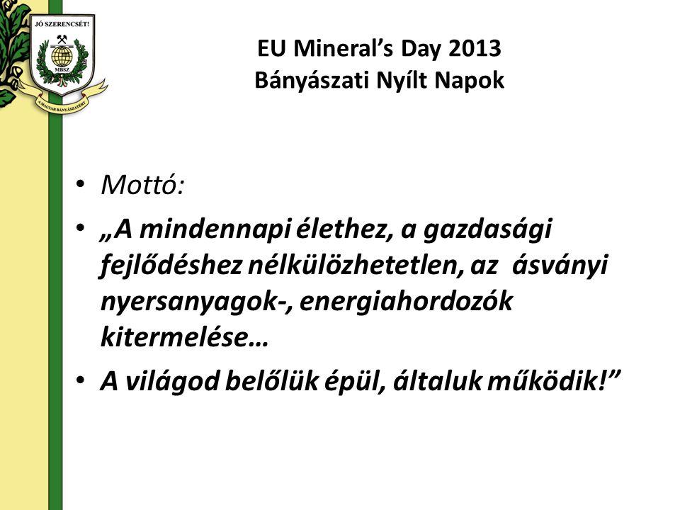 """EU Mineral's Day 2013 Bányászati Nyílt Napok • Mottó: • """"A mindennapi élethez, a gazdasági fejlődéshez nélkülözhetetlen, az ásványi nyersanyagok-, energiahordozók kitermelése… • A világod belőlük épül, általuk működik!"""