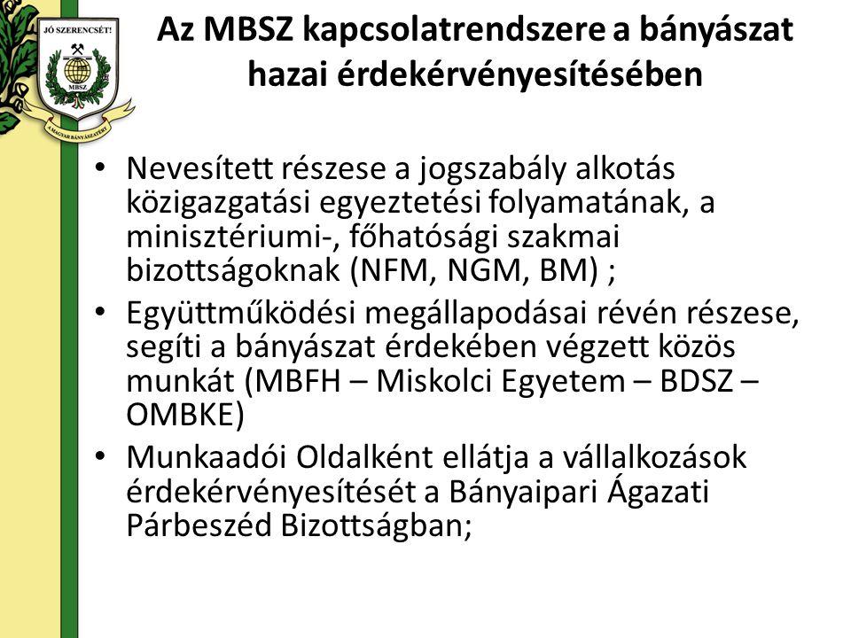 Az MBSZ kapcsolatrendszere a bányászat hazai érdekérvényesítésében • Nevesített részese a jogszabály alkotás közigazgatási egyeztetési folyamatának, a minisztériumi-, főhatósági szakmai bizottságoknak (NFM, NGM, BM) ; • Együttműködési megállapodásai révén részese, segíti a bányászat érdekében végzett közös munkát (MBFH – Miskolci Egyetem – BDSZ – OMBKE) • Munkaadói Oldalként ellátja a vállalkozások érdekérvényesítését a Bányaipari Ágazati Párbeszéd Bizottságban;