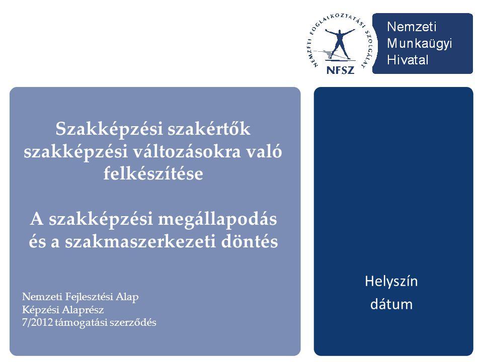 Szakképzési szakértők szakképzési változásokra való felkészítése A szakképzési megállapodás és a szakmaszerkezeti döntés Helyszín dátum Nemzeti Fejles