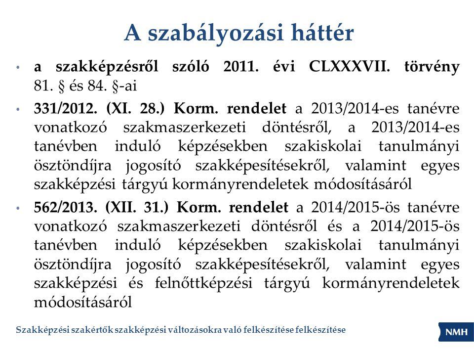 A szabályozási háttér • a szakképzésről szóló 2011. évi CLXXXVII. törvény 81. § és 84. §-ai • 331/2012. (XI. 28.) Korm. rendelet a 2013/2014-es tanévr