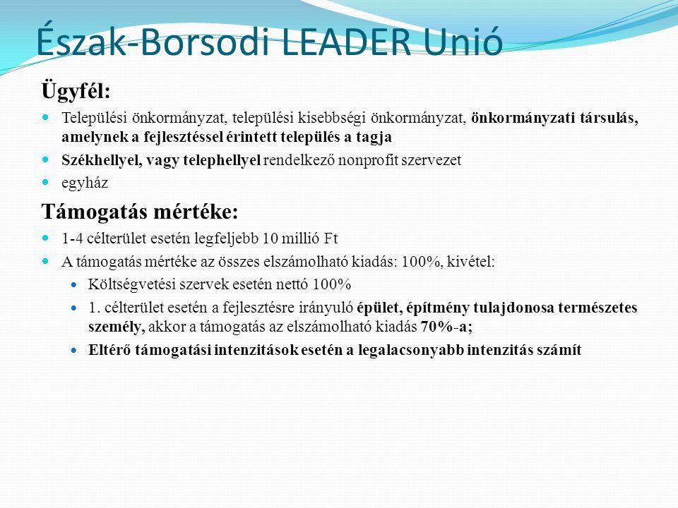 Észak-Borsodi LEADER Unió Támogatás igénybevételének feltételei: nem hiánypótolható  ha a fejlesztéssel érintett ingatlan nem a támogatási kérelmet benyújtó ügyfél kizárólagos tulajdonában van, teljes bizonyító erejű magánokiratba foglalt megállapodás ( két tanú szükséges) megkötése szükséges  Városi ranggal rendelkező településen fejlesztés nem támogatható  1.