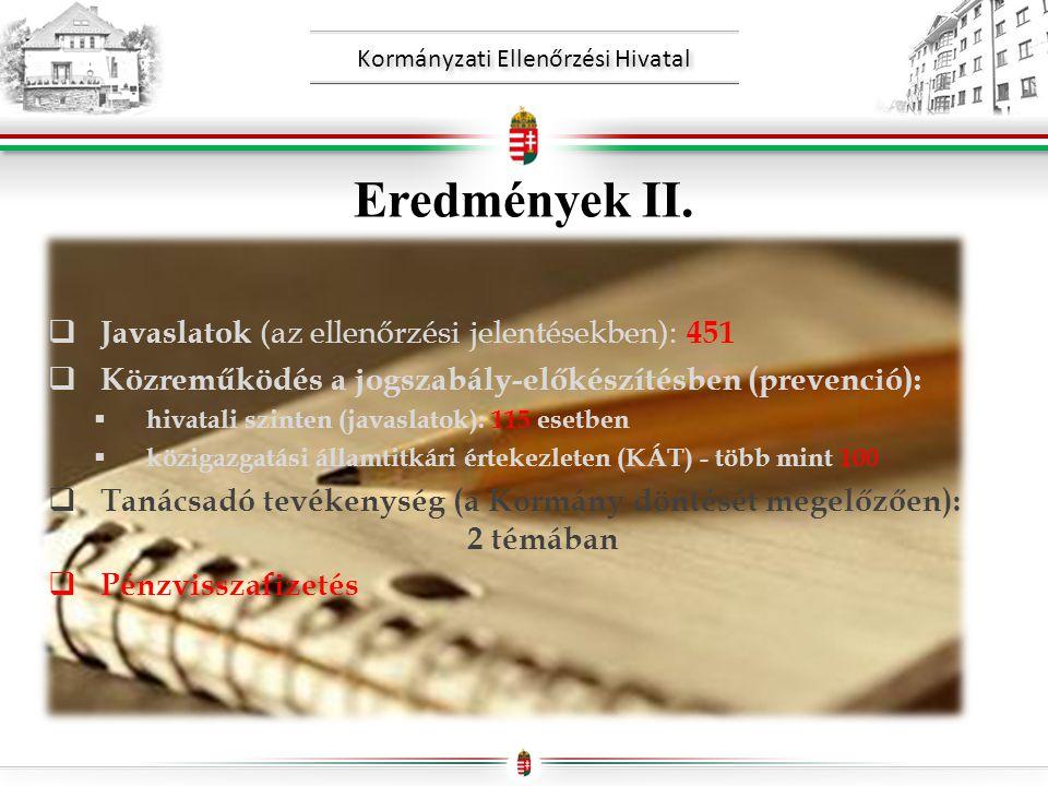 Kormányzati Ellenőrzési Hivatal Eredmények II.