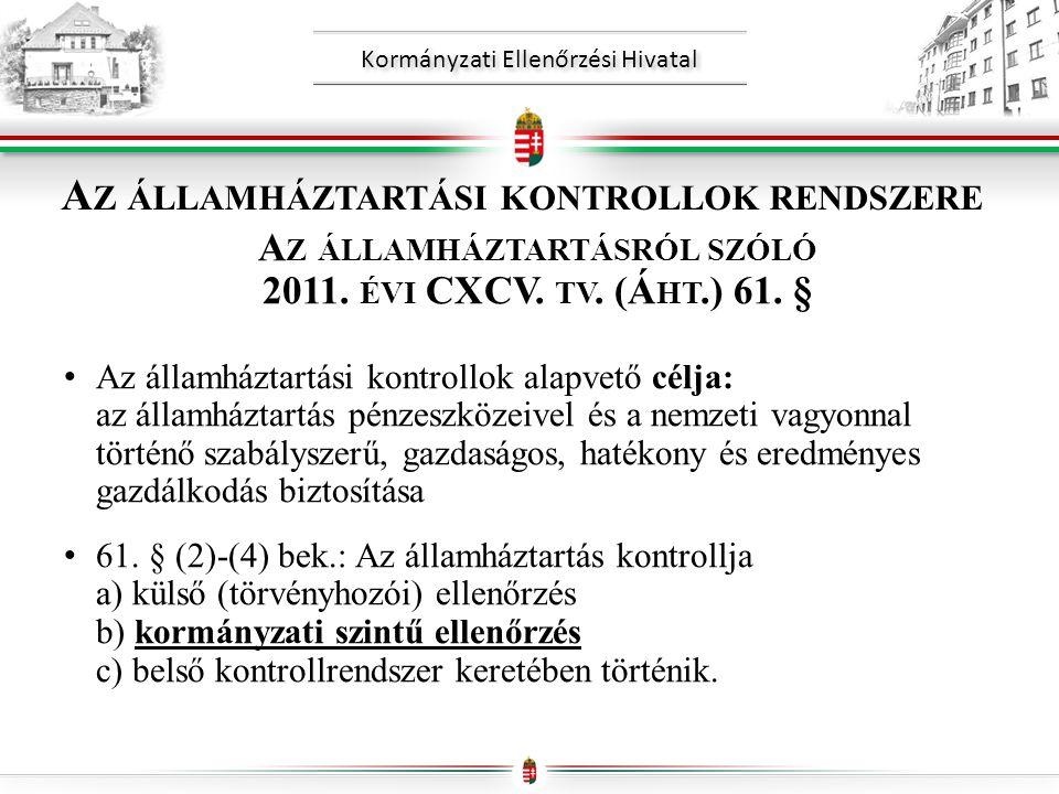 Kormányzati Ellenőrzési Hivatal A Z ÁLLAMHÁZTARTÁSI KONTROLLOK RENDSZERE A Z ÁLLAMHÁZTARTÁSRÓL SZÓLÓ 2011.