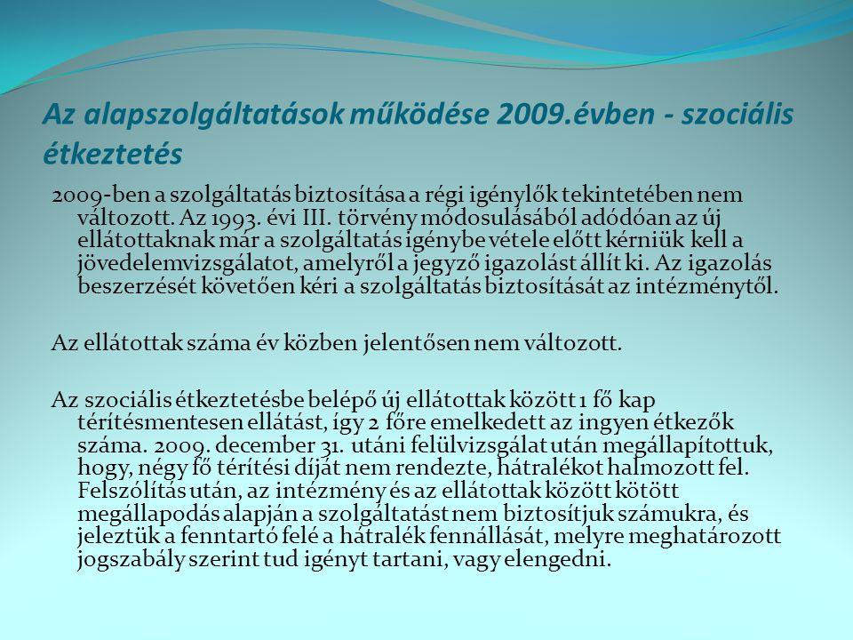 Az alapszolgáltatások működése 2009.évben - szociális étkeztetés 2009-ben a szolgáltatás biztosítása a régi igénylők tekintetében nem változott. Az 19