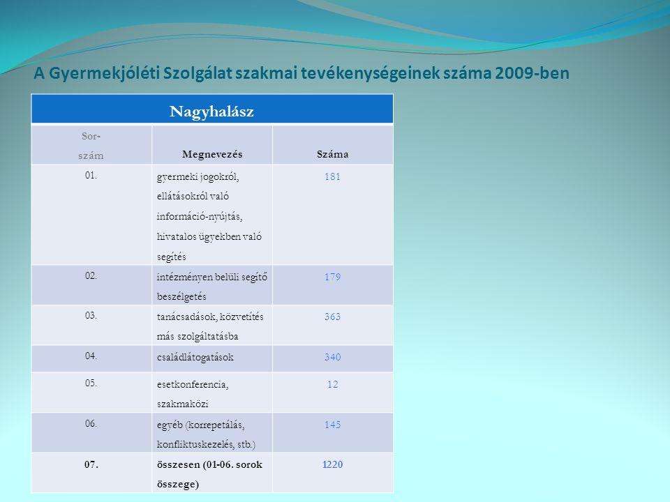 A Gyermekjóléti Szolgálat szakmai tevékenységeinek száma 2009-ben Nagyhalász Sor- szám MegnevezésSzáma 01. gyermeki jogokról, ellátásokról való inform