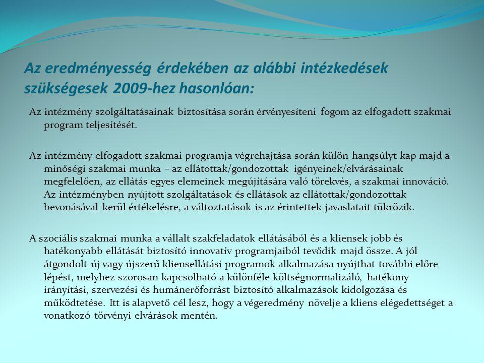 Az eredményesség érdekében az alábbi intézkedések szükségesek 2009-hez hasonlóan: Az intézmény szolgáltatásainak biztosítása során érvényesíteni fogom