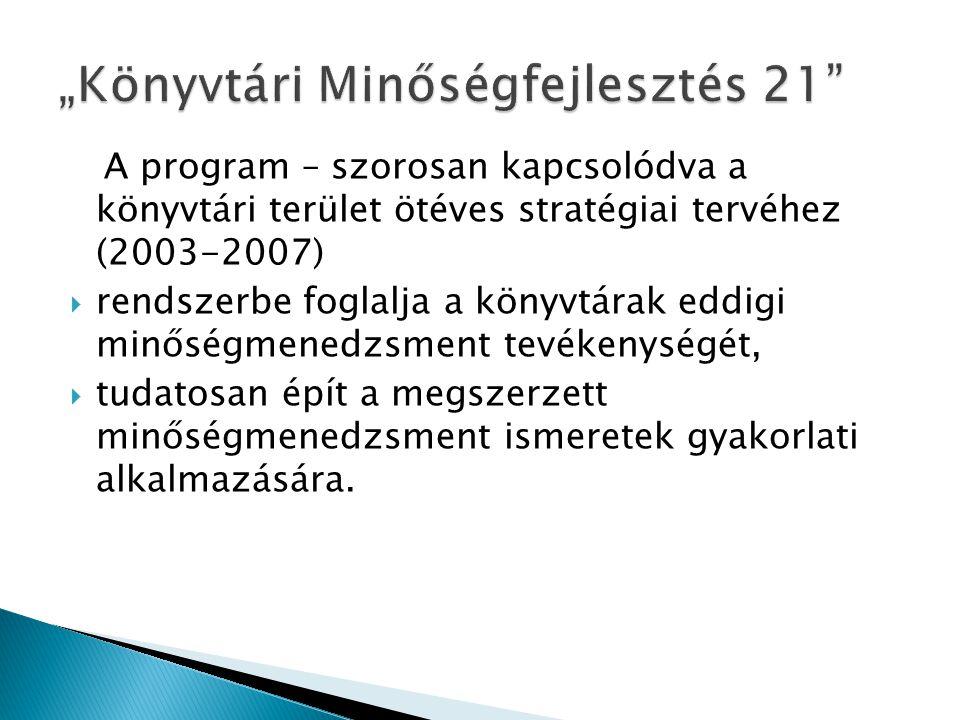 A program – szorosan kapcsolódva a könyvtári terület ötéves stratégiai tervéhez (2003-2007)  rendszerbe foglalja a könyvtárak eddigi minőségmenedzsme