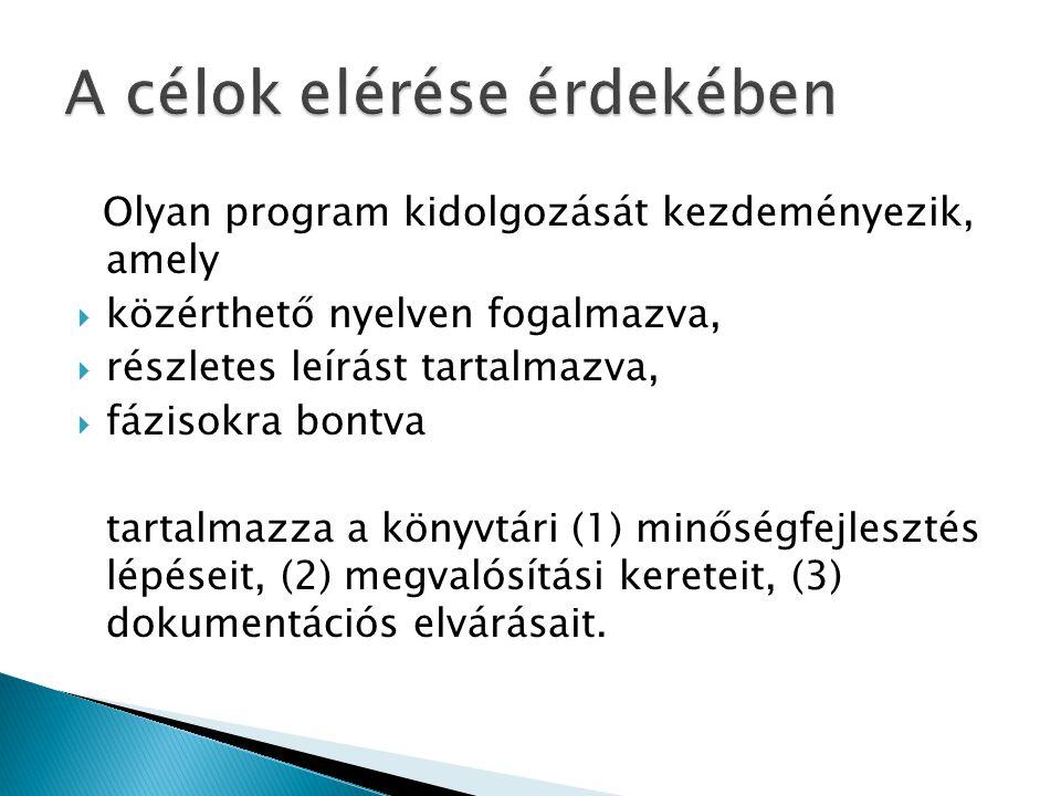 Olyan program kidolgozását kezdeményezik, amely  közérthető nyelven fogalmazva,  részletes leírást tartalmazva,  fázisokra bontva tartalmazza a kön
