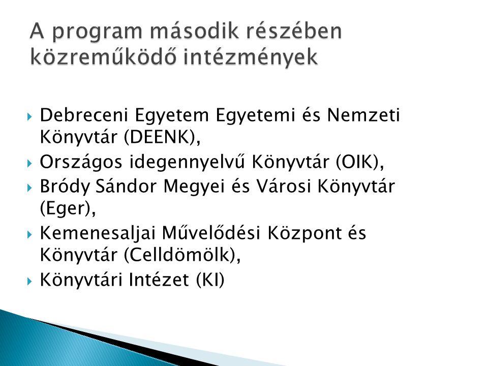  Debreceni Egyetem Egyetemi és Nemzeti Könyvtár (DEENK),  Országos idegennyelvű Könyvtár (OIK),  Bródy Sándor Megyei és Városi Könyvtár (Eger),  K
