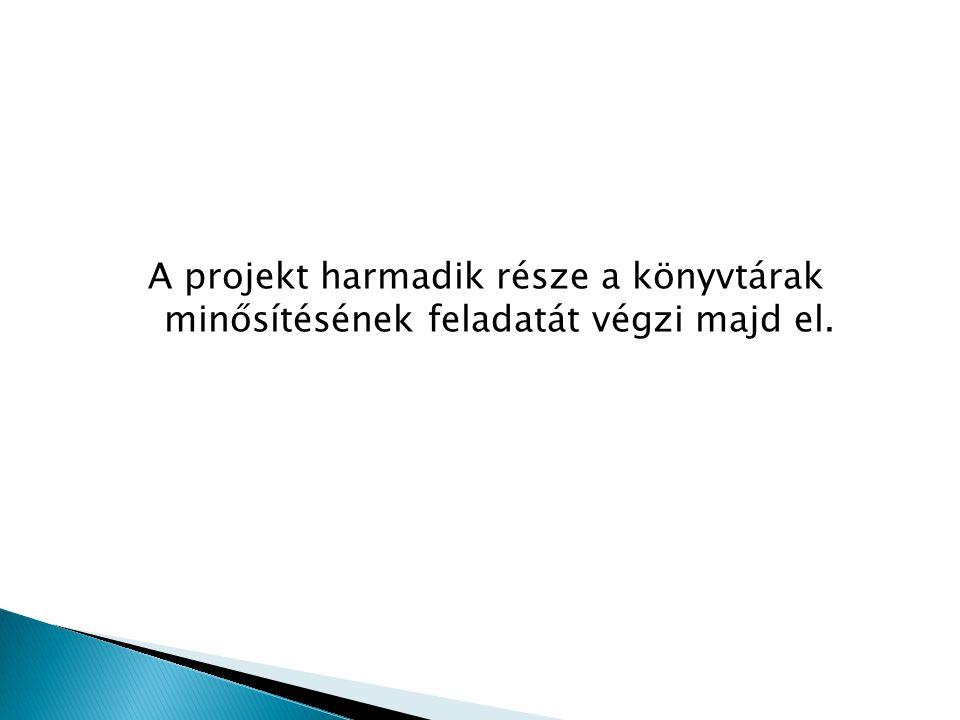 A projekt harmadik része a könyvtárak minősítésének feladatát végzi majd el.