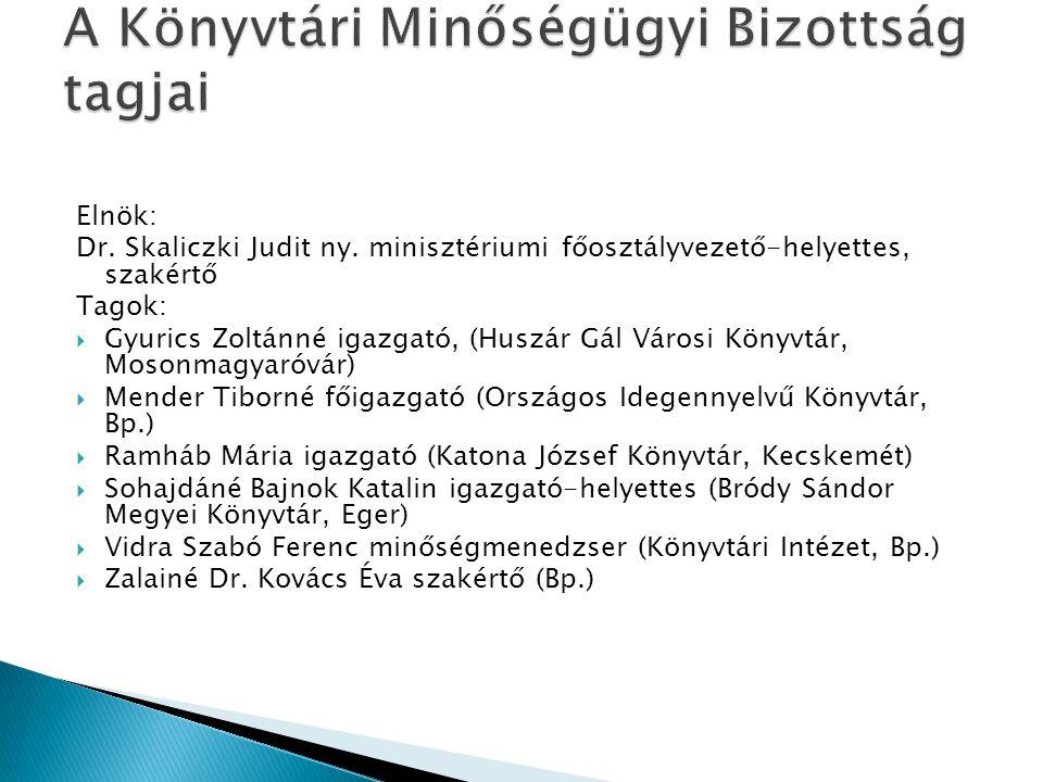 Elnök: Dr. Skaliczki Judit ny. minisztériumi főosztályvezető-helyettes, szakértő Tagok:  Gyurics Zoltánné igazgató, (Huszár Gál Városi Könyvtár, Moso
